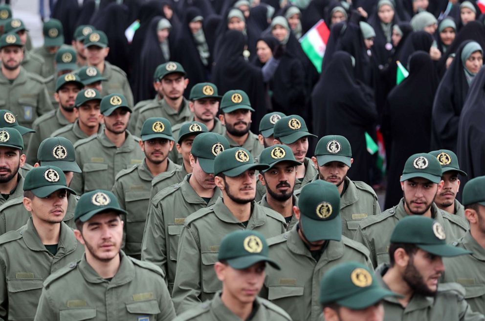 PHOTO: Members of Irans Revolutionary Guards during a ceremony marking the 40th anniversary of the 1979 Islamic revolution, at the Azadi square in Tehran, Iran, Feb. 11, 2019.