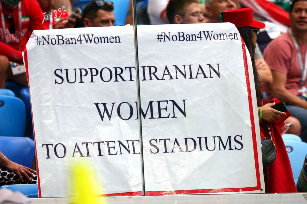 PHOTO: A sign is held by fans in support of Iranian women in football during the 2018 FIFA World Cup Russia group B match between Morocco and Iran at Saint Petersburg Stadium, June 15, 2018, in Saint Petersburg, Russia.  Banned from stadiums at home, Iranian women attend World Cup soccer matches in Russia iran world cup fan 04 ap jef 180620 hpEmbed 3x2 992
