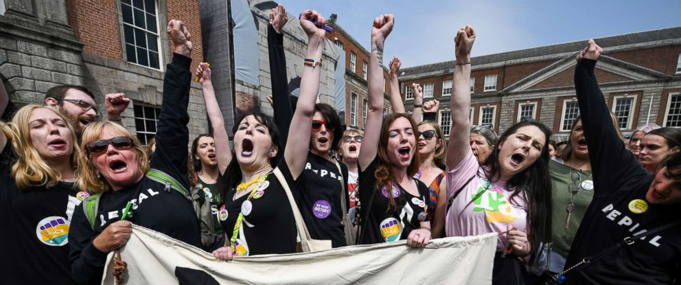 PHOTO: Supporters gather at Dublin Castle for the result Irish referendum result on the 8th amendment concerning the countrys abortion laws on May 26, 2018 in Dublin, Ireland.