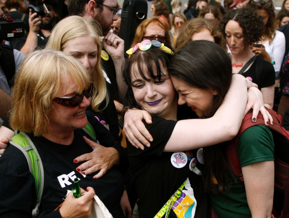 PHOTO: People from the Yes campaign react as the results of the votes begin to come in, after the Irish referendum on the 8th Amendment of the Irish Constitution at Dublin Castle, in Dublin, Ireland, May 26, 2018.