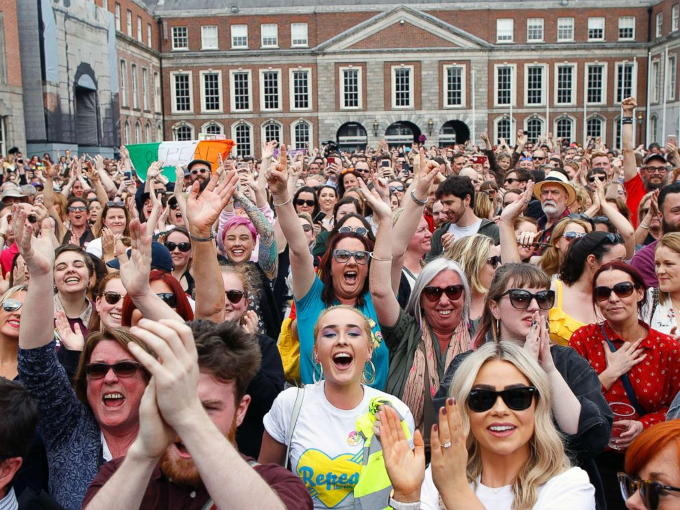 PHOTO: People from the Yes campaign react as the results of the votes begin to come in the Irish referendum on the 8th Amendment of the Irish Constitution at Dublin Castle, in Dublin, Ireland, May 26, 2018.