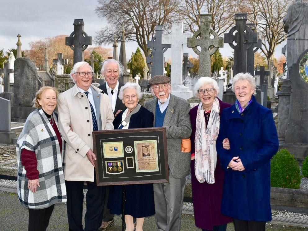 PHOTO: The nieces and nephews of Private Michael Walsh receive his Purple Heart at the Glasnevin Cemetery in Dublin, Ireland. Walsh was killed in action on Oct. 24, 1918 during the Meuse-Argonne Offensive in World War I.