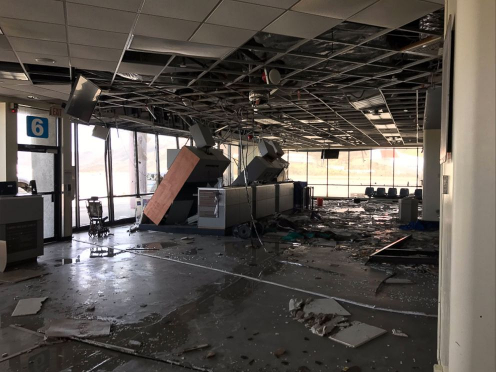 PHOTO: Damage to the airport terminal building in St. Thomas after Hurricane Irma struck the U.S. Virgin Island.