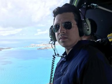 PHOTO: ABCs Joshua Hoyos aboard a helicopter to survey damage from Hurricane Irma over the U.S. Virgin Islands, Sept. 10, 2017.