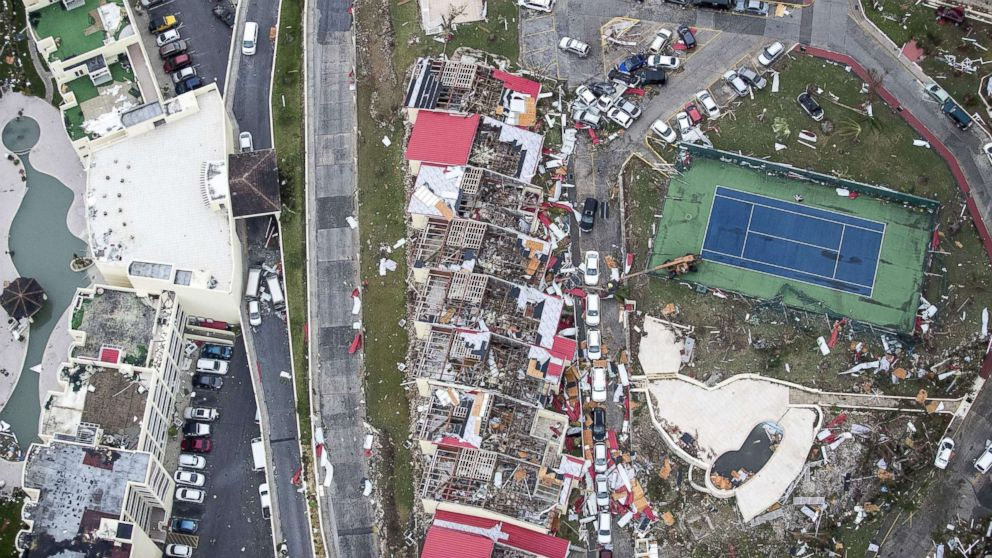 An aerial photo shows the damage from Hurricane Irma on the Caribbean island of St. Martin, Sept. 6, 2017.