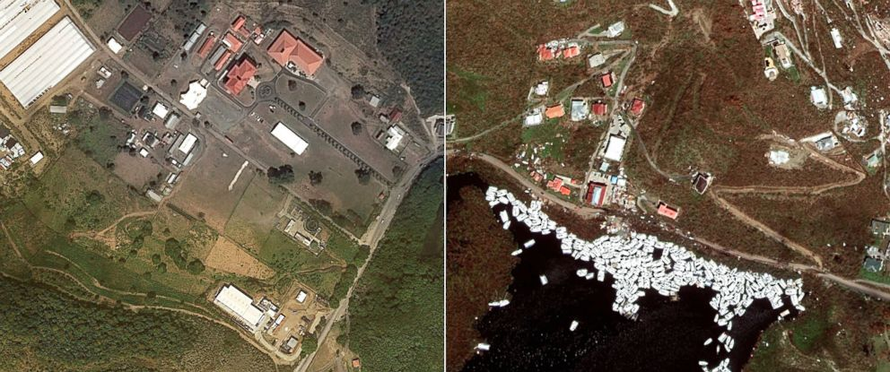 PHOTO: Satellite images of the Caribbean Islands before and after Hurricane Irma show the destructive force which flattened buildings, tossed boats and denuded the landscape.