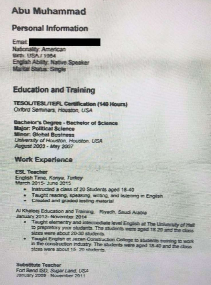 The George Washington University Program on Extremism obtained this document it says is a resume from Warren Christopher Clark, who the Syrian Democratic Forces said is an American man it detained for allegedly belonging to ISIS. Researchers at the university said the document, which they say Clark allegedly sent to ISIS, was recovered in a house in Mosul, Iraq, by a group of anti-terror investigators.