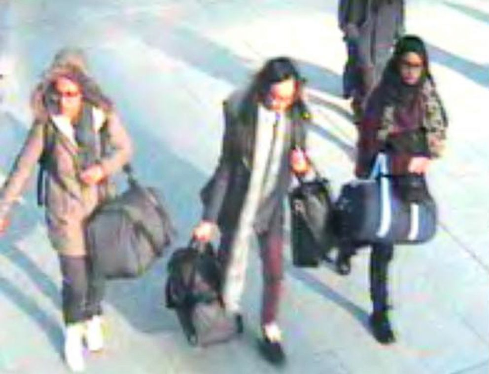PHOTO: In this handout photo taken, Feb. 17, 2015, from a CCTV video, shows British teenagers Amira Abase, Kadiza Sultana and Shamima Begum at Gatwick Airport in London.