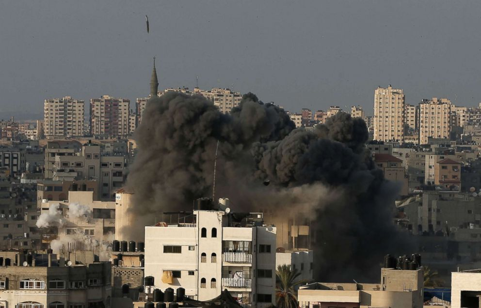 Smoke billows during an Israeli air strike on Gaza City, Aug. 9, 2018.