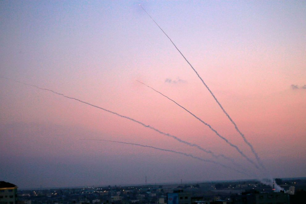 PHOTO: A picture taken from the Gaza Strip on Nov. 12, 2018 shows missiles being launched toward Israel.