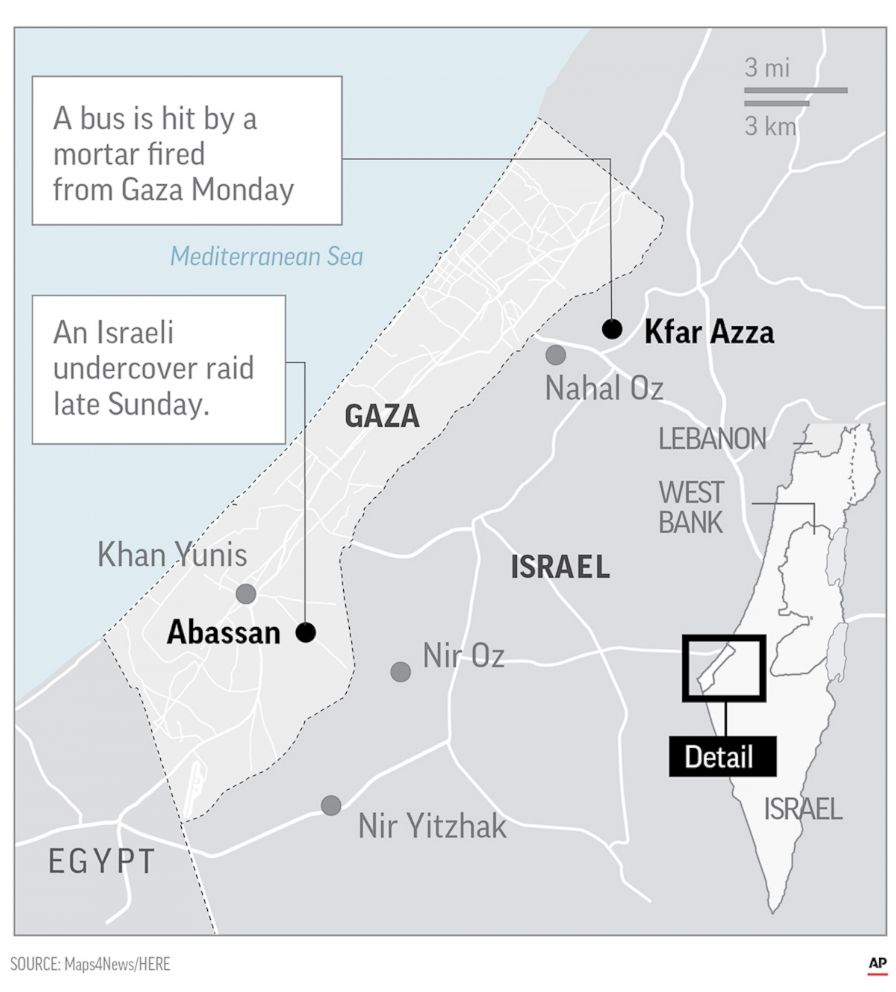 PHOTO: A map shows the locations of an Israel raid late on Sunday and a bus hit by a mortar fired from Gaza on Monday.