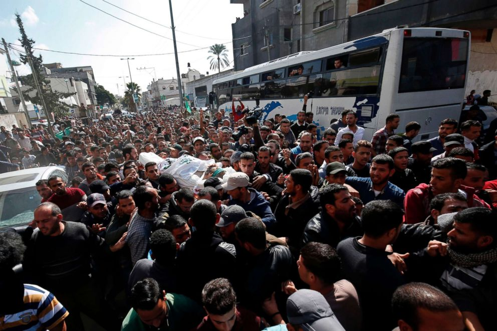 PHOTO: Mourners carry the body of Nour Baraka, a commander in the Islamist movement Hamas military wing and one of the Palestinians killed during an Israeli special forces operation in the Gaza Strip, during his funeral on Nov. 12, 2018, in Khan Younis.