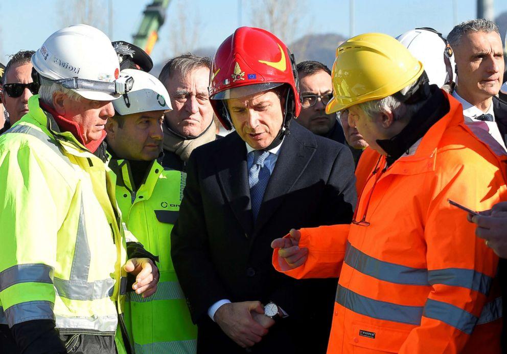 PHOTO: Italys Prime Minister Giuseppe Conte arrives to visit the collapsed Morandi Bridge in Genoa, Italy, Feb. 8, 2019.