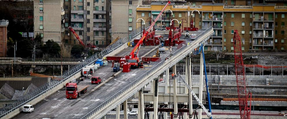 PHOTO: A view of demolition work on the Morandi bridge in Genoa, Italy, Feb. 8, 2019.