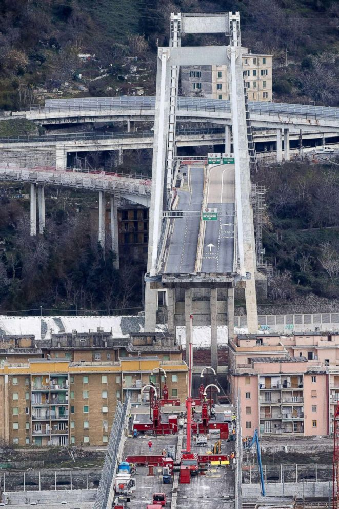 Essay On Science And Religion A View Of Demolition Work On The Morandi Bridge In Genoa Italy Feb Process Paper Essay also Essay On My Family In English Section Of Italys Collapsed Genoa Bridge Being Removed  Abc News High School Admission Essay Samples