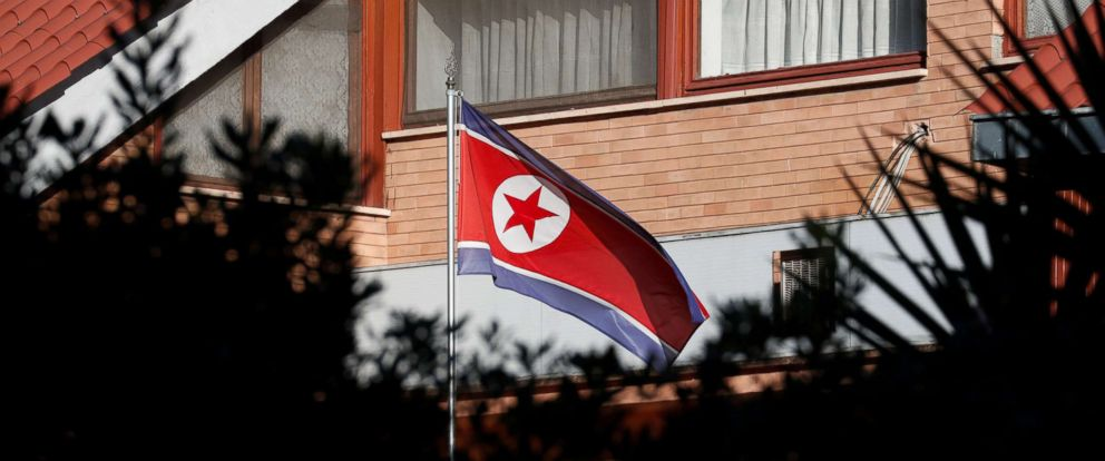 PHOTO: The flag of North Korea flutters in front of its embassy in Rome, Jan. 3, 2019.
