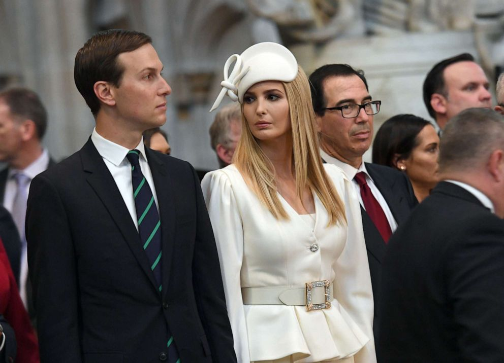 PHOTO: Ivanka Trump and Jared Kushner look on as President Donald Trump, places a wreath on the Grave of the Unknown Warrior during a visit to Westminster Abbey, June 3, 2019, in London.