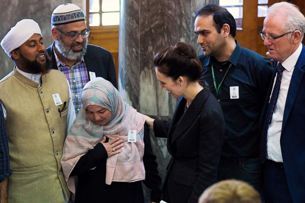 New Zealand Prime Minister Jacinda Ardern meets with Muslim community leaders after the Parliament session in Wellington on March 19, 2019.