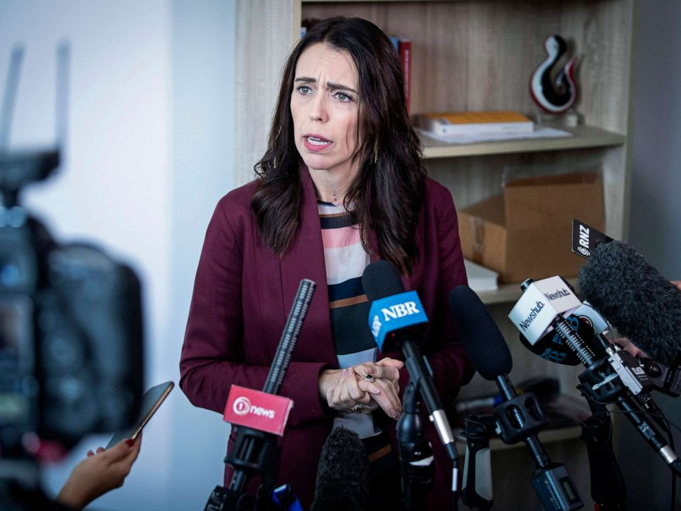 PHOTO: New Zealand Prime Minister Jacinda Ardern speaks to media at her electorate office in Aukland, April 24, 2019.