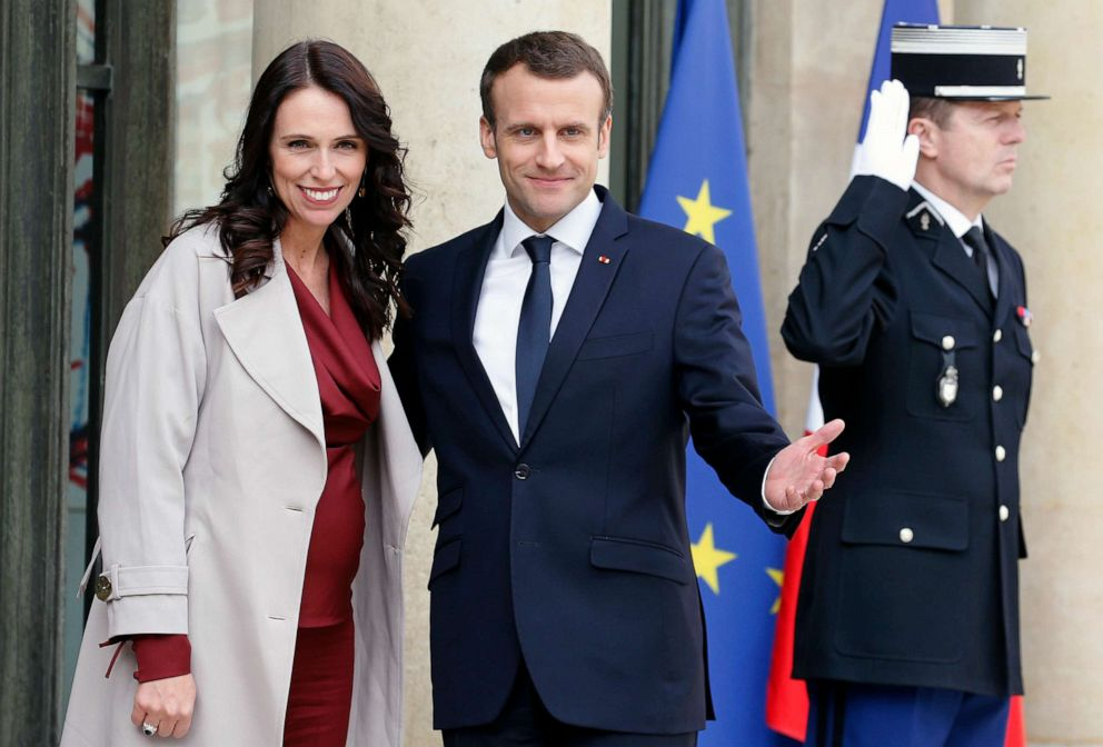 PHOTO: French President Emmanuel Macron welcomes New Zealands Prime Minister Jacinda Ardern prior to their meeting at the Elysee Palace on April 16, 2018, in Paris.