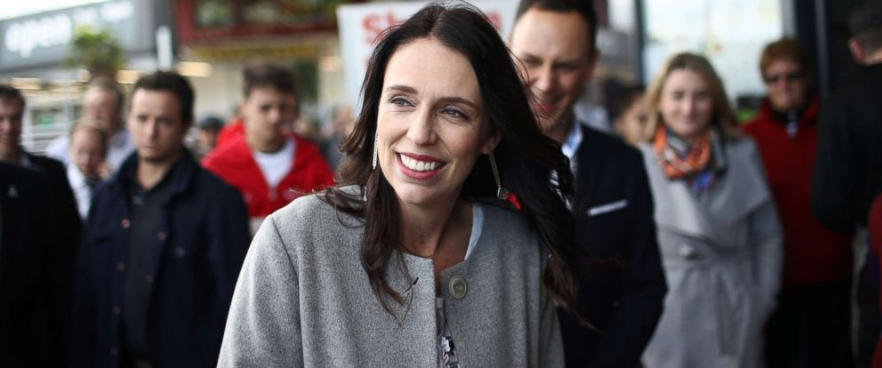 Prime Minister Jacinda Ardern meets shoppers at the Northcote Shopping Centre, June 7, 2018, in Auckland, New Zealand. She just gave birth to a daughter.