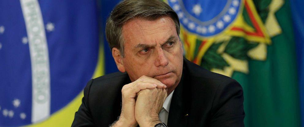 PHOTO: Brazils President Jair Bolsonaro holds a press conference at the Planalto presidential palace in Brasilia, Brazil, Aug. 1, 2019.