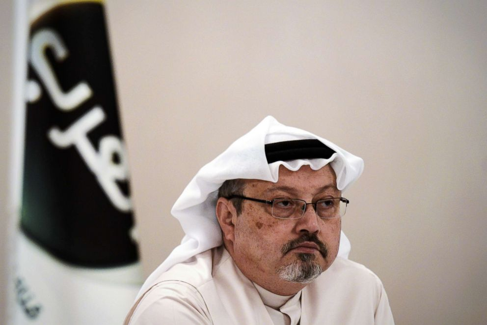 PHOTO: A general manager of Alarab TV, Jamal Khashoggi, looks on during a press conference in the Bahraini capital Manama, Dec. 15, 2014.