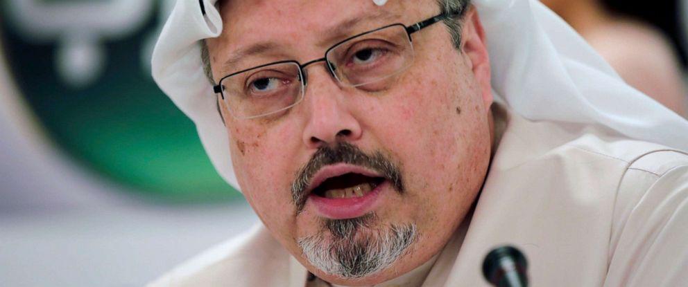 PHOTO: Saudi journalist Jamal Khashoggi speaks during a news conference in Manama, Bahrain, Feb. 1, 2015.