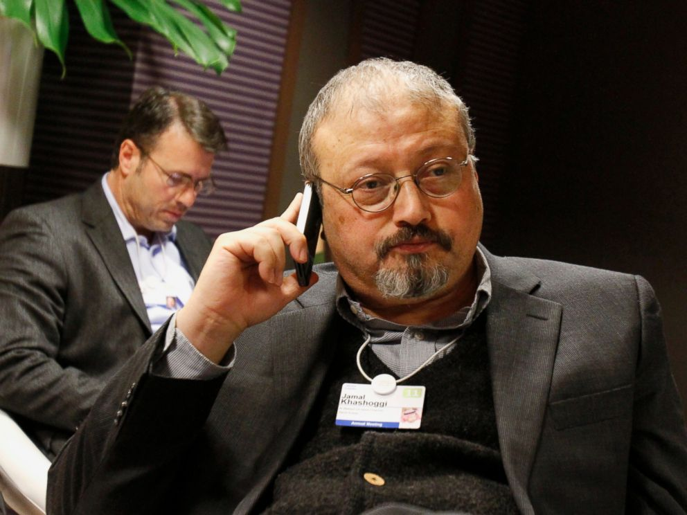 PHOTO: In this Jan. 29, 2011 file photo, Saudi journalist Jamal Khashoggi speaks on his cellphone at the World Economic Forum in Davos, Switzerland.