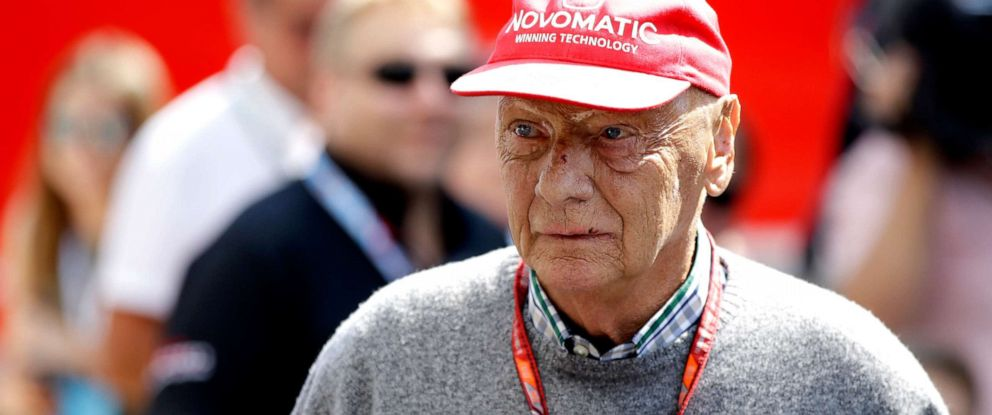 PHOTO: In this July 7, 2018, file photo former Formula One World Champion Niki Lauda of Austria walks in the paddock before the third free practice at the Silverstone racetrack, Silverstone, England.