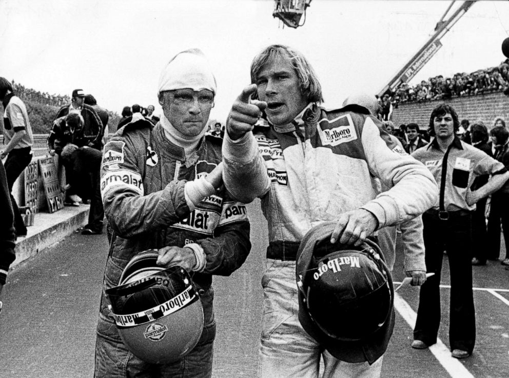 PHOTO: Racing drivers Niki Lauda (left) and James Hunt after both were involved in a multiple collision and forced to retire at the start of the Belgian Grand Prix , Belgium, May 21, 1978.