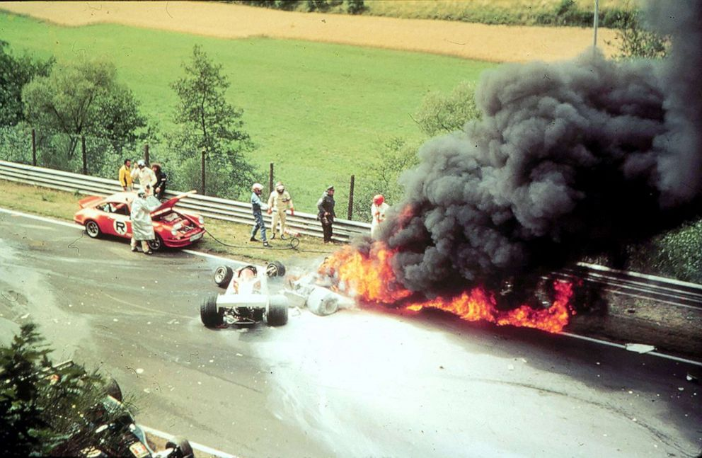 PHOTO: The burning Ferrari of Austrian driver Niki Lauda after an accident during the German Grand Prix at the Nurburgring, Germany, Aug. 1, 1976.