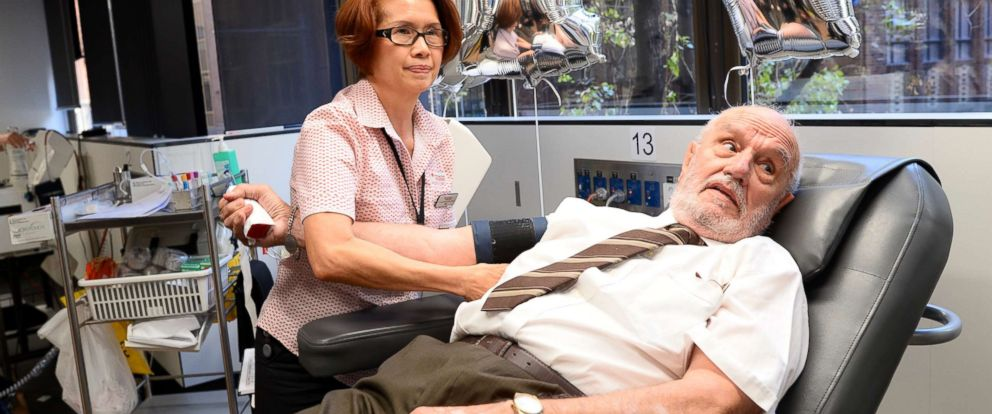 PHOTO: James Harrison gets ready for his last blood donation, May 11, 2018, in Sydney. 63 years after his first blood donation, Harris gave his last donation.