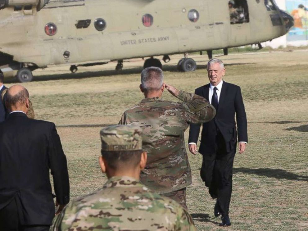 PHOTO: U.S. General John Nicholson, the commander of NATOs Resolute Support Mission, salutes to U.S. Defense Secretary James Mattis upon arrival at NATOs headquarters in Kabul, Afghanistan, Sept. 27, 2017.