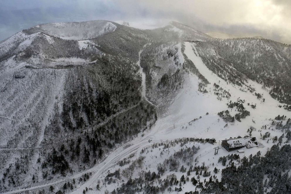 PHOTO: A cable car station where skiers were awaiting rescue near a volcano that erupted at the Kusatsu-Shirane mountains are seen from a Kyodo News helicopter in the Gunma Prefecture northwest of Tokyo, Japan, Jan. 23, 2018.