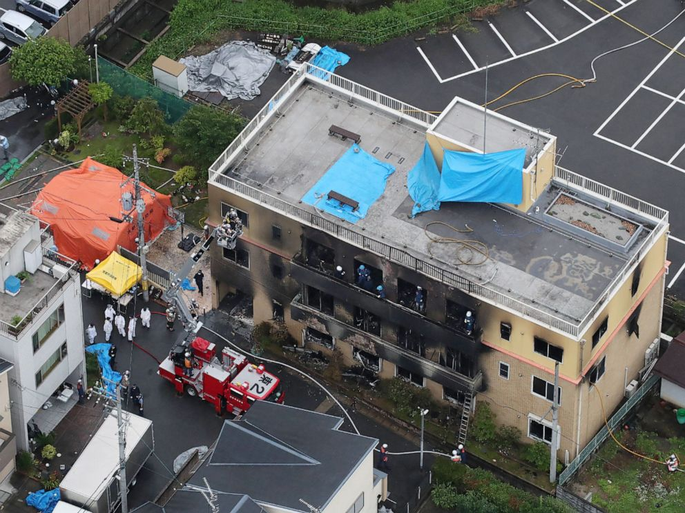 PHOTO: This aerial view shows the rescue and recover scene after a fire at an animation company building killed some two dozen people in Kyoto on July 18, 2019.