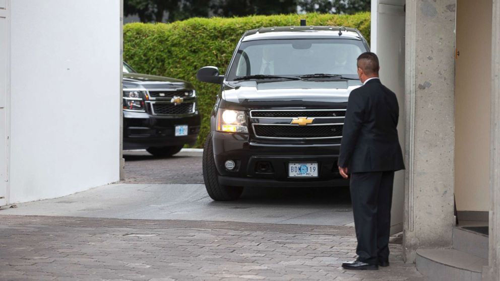 A convoy carrying White House envoy Jared Kushner leaves the Los Pinos presidential residence in Mexico City, March 7, 2018.