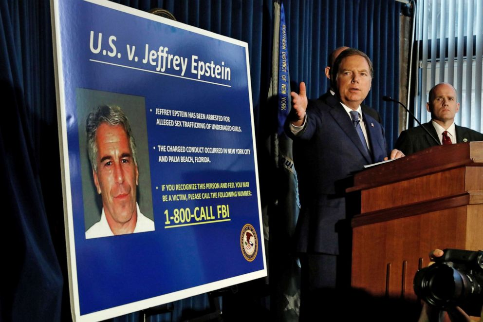 PHOTO:U.S Attorney for the Southern District of New York Geoffrey Berman speaks during a news conference, in N.Y., July 8, 2019.