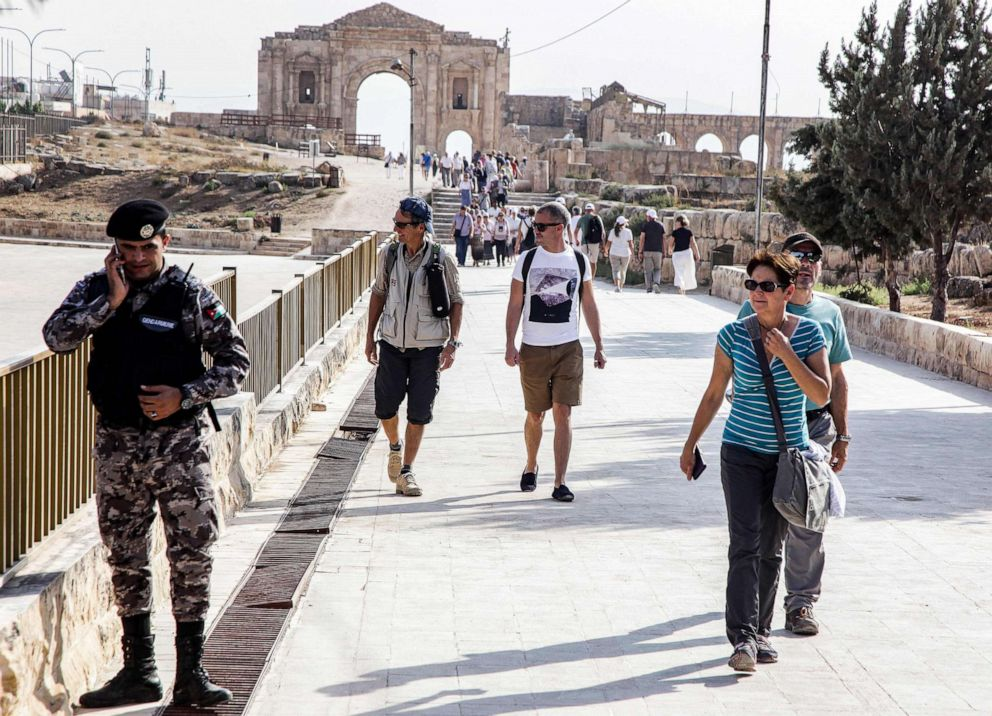 PHOTO: A view of the scene where several people, including tourists along with a Jordanian tour guide and a security officer, were wounded in a knife attack in the site of Jerash, a popular attraction north of the capital Amman, Nov. 6, 2019.