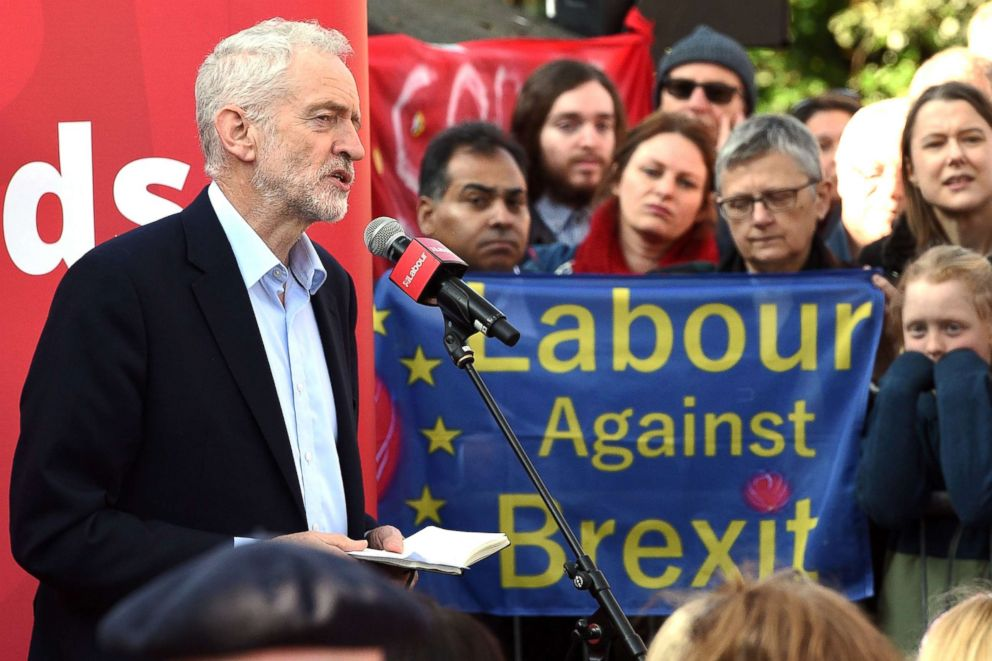 PHOTO: In this file photo taken on Feb. 23, 2019, Opposition Labour party leader Jeremy Corbyn addresses at a rally, in Broxtowe, central England.