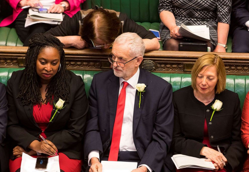 PHOTO: Britains Labour Party leader Jeremy Corbyn reacts at the House of Commons in London, May 8, 2019.