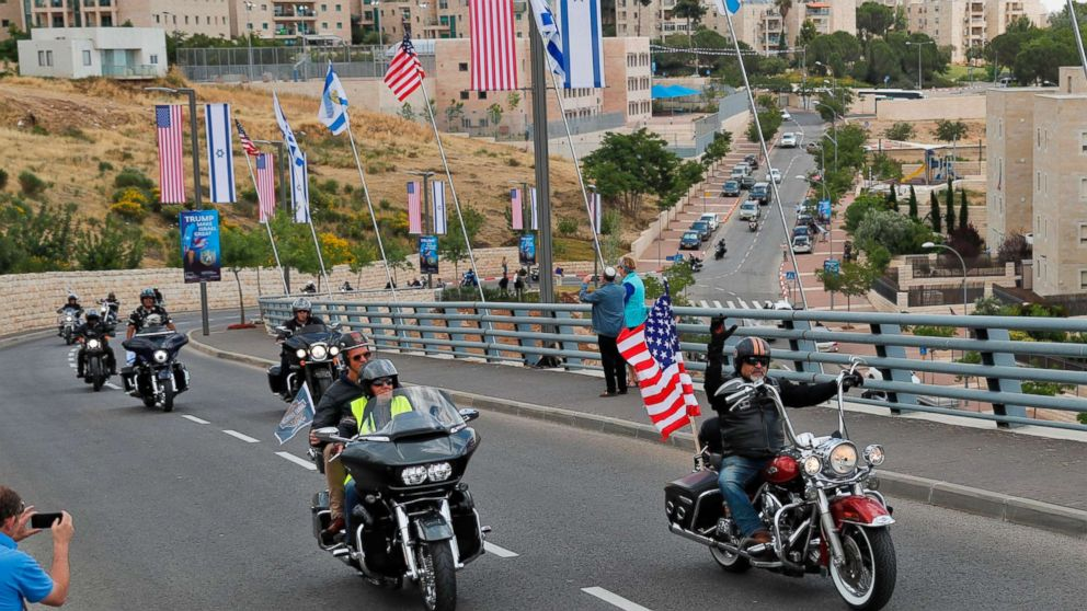 Israeli motorcycle club, Samson Riders, lead a convoy of Harley Davidson riders in the streets of Jerusalem, May 13, 2018, as they ride from the current location of the American embassy in Tel Aviv towards the new location in Jerusalem.