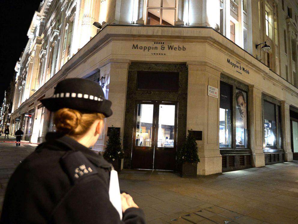 PHOTO: Damage shown in the Mappin and Webb jewelry store on Regents Street, following a smash and grab raid, in central London, Oct. 9, 2017.