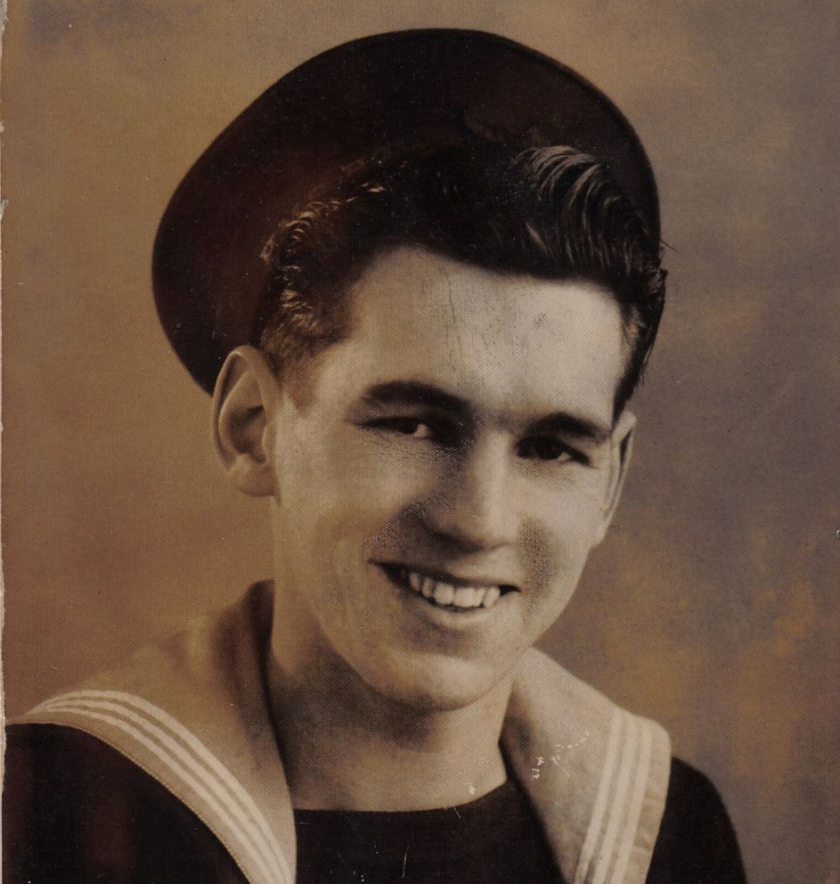PHOTO: Jim Radford, here pictured as a sailor in the Royal Navy when he was 18, was just 15 years old when he served during the D-Day landings.