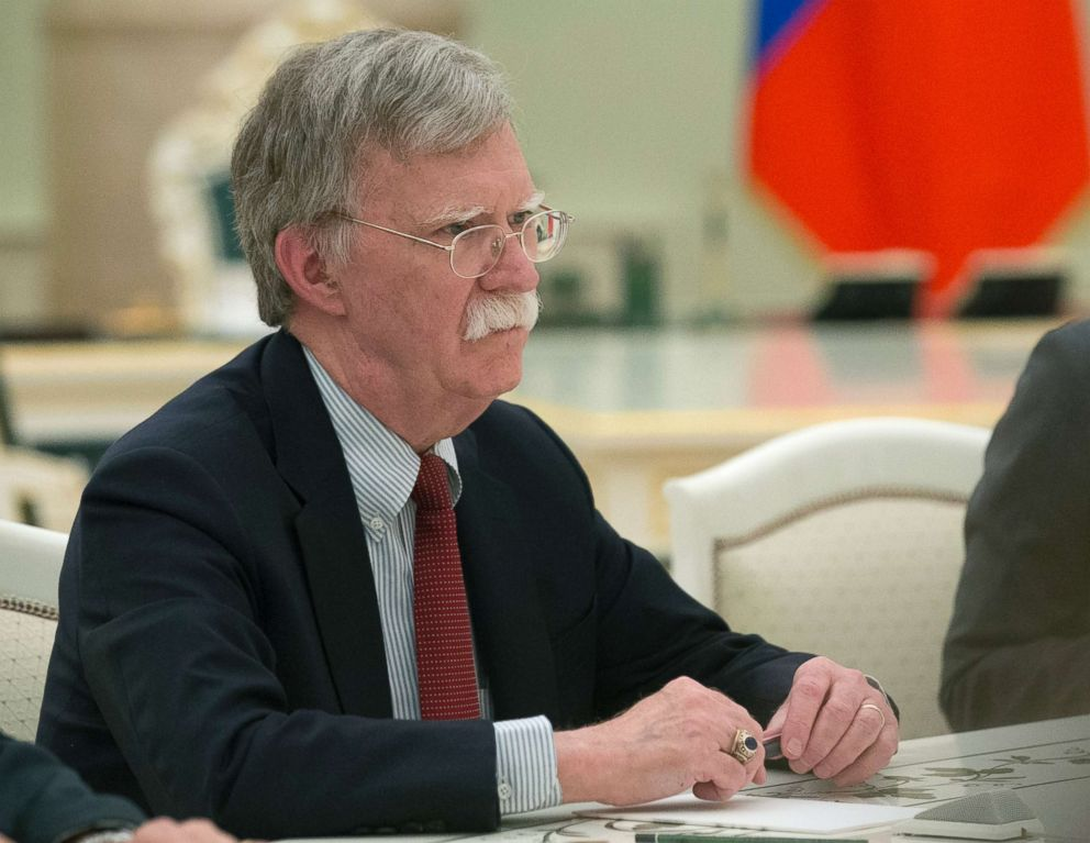 U.S. National security adviser John Bolton speaks to Russian President Vladimir Putin during their talks at the Kremlin in Moscow, Russia, June 27, 2018.