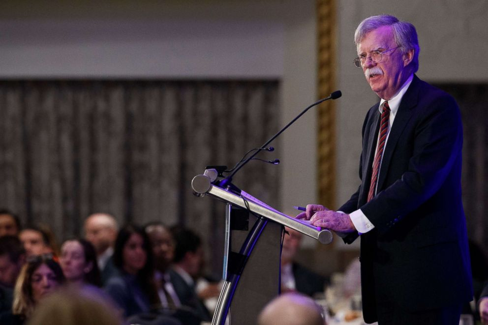 PHOTO: National Security Advisor John Bolton delivers remarks at a Federalist Society luncheon in Washington, Sept. 10, 2018.