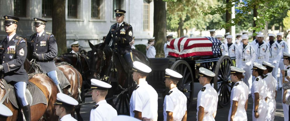 PHOTO: In this handout photo courtesy of the McCain Family, the horse-drawn caisson bearing the body of Sen. John McCain moves through the grounds of the United Sates Naval Academy toward the cemetery after a service, Sept. 2, 2018, in Annapolis, Md.