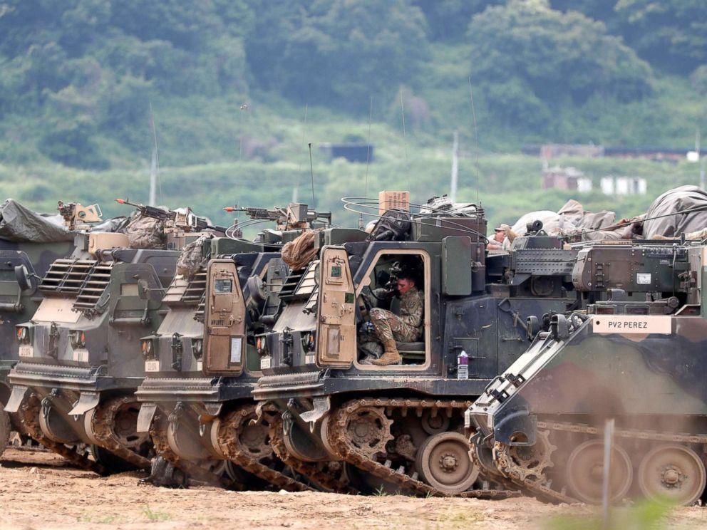PHOTO: U.S. army personnel and multiple launch rocket systems participate in a defense exercise at the Mugeon-ri drill field near the Demilitarized Zone (DMZ) in Paju, Gyeonggi-do, South Korea, June 19, 2018.  South Korea calls for 'corresponding measures' from the North after military exercise with US suspended joint us south korea military exercises1 sh mem 180619 hpMain 4x3 992