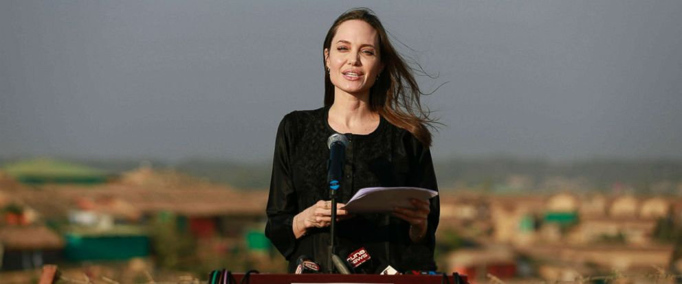 PHOTO: Angelina Jolie addresses a press conference at Kutupalong refugee camp in Coxs Bazar, Bangladesh, Feb. 5, 2019.