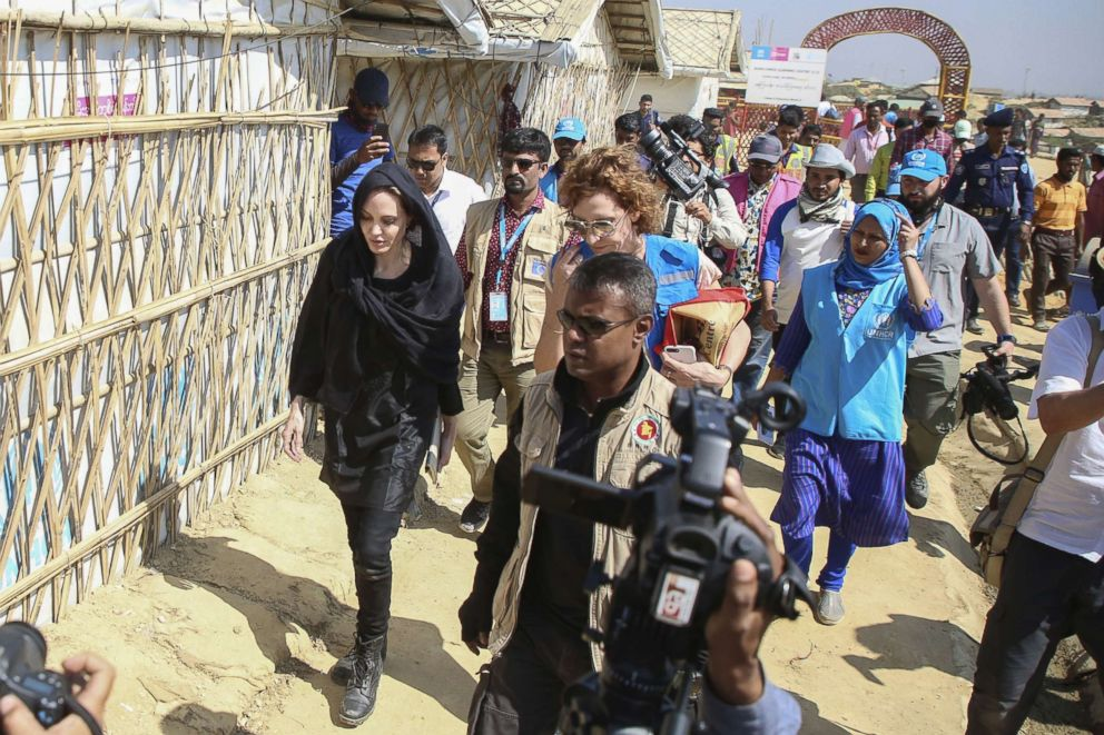 PHOTO: Angelina Jolie, a special envoy for the United Nations High Commissioner for Refugees (UNHCR), visits a school in the Kutupalong camp for Rohingya refugees in Ukhia in southern Bangladesh, Feb. 5, 2019.